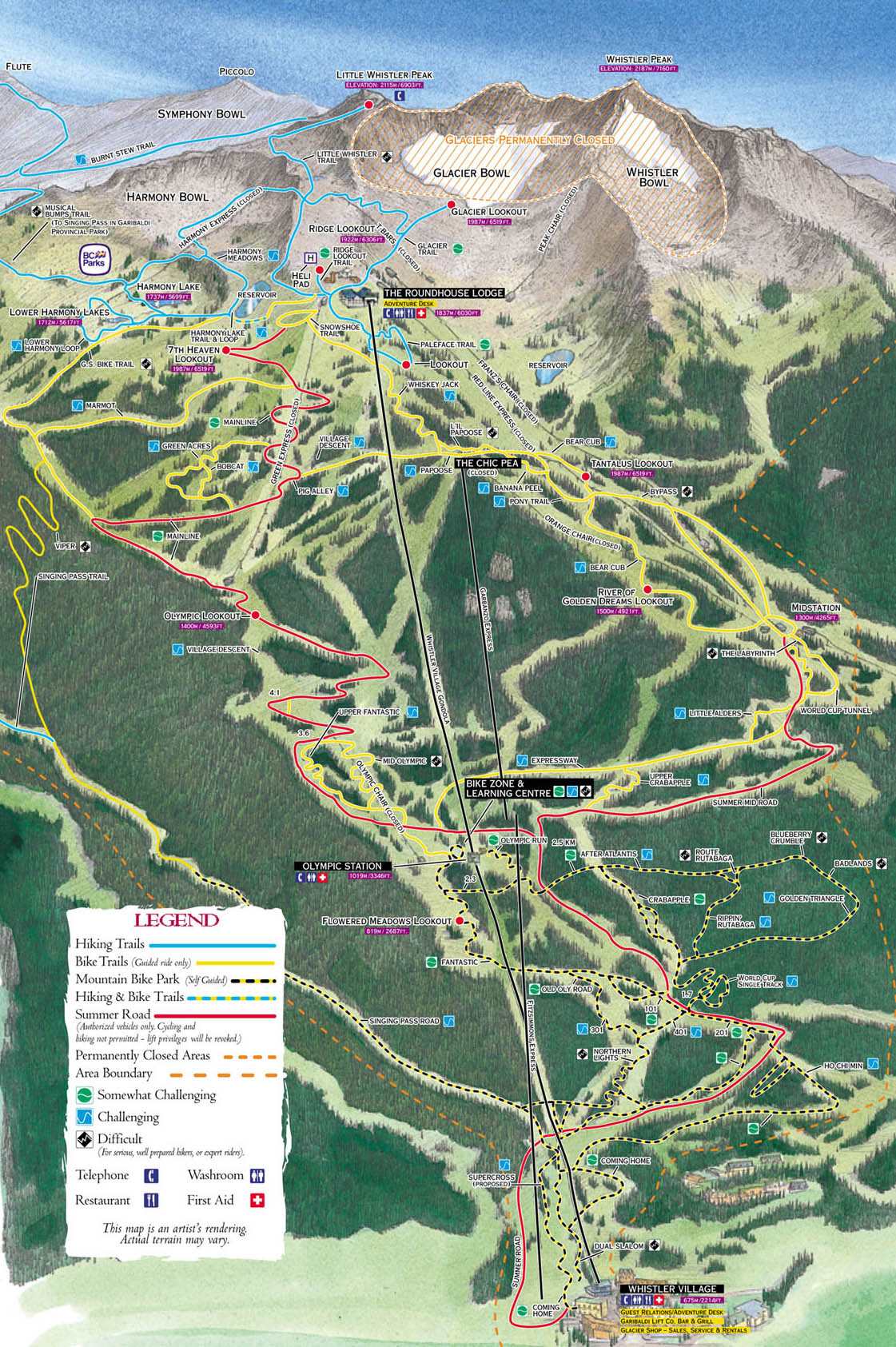 Whistler blackcomb summer trail map whistler mountain atlas click on image to view larger version gumiabroncs Gallery